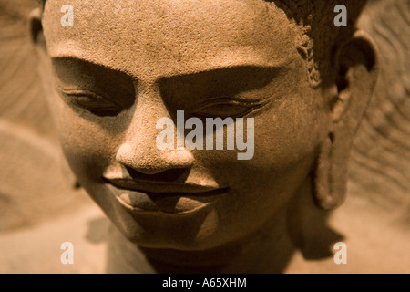 Sandstone Buddha Statue Asian Civilizations Museum Singapore - Stock Photo