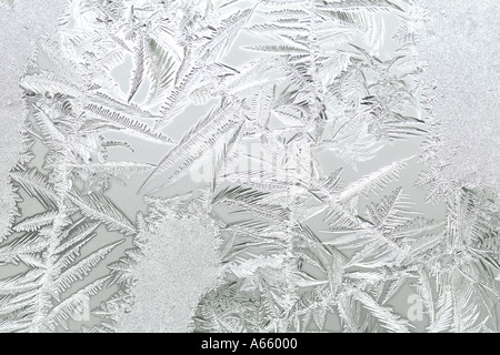 Frost On A Wintry Window - Stock Photo