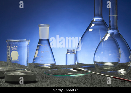 Clean Empty Chemistry Lab Beakers - Stock Photo