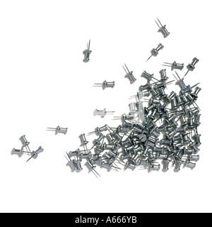 Silver drawing pins - Stock Photo