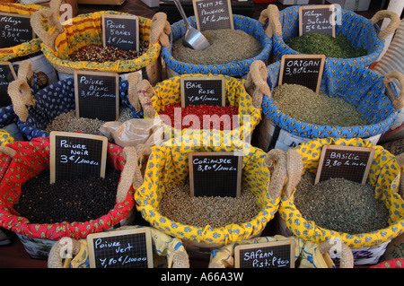 Herbs on sale in French market, Nice - Stock Photo