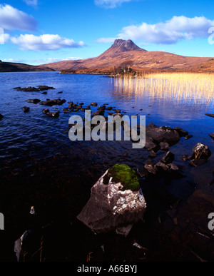 Stac Pollaidh viewed from the shores of Loch Lurgainn, Inverpolly, Scotland - Stock Photo