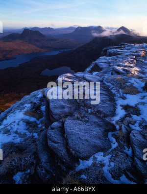 Inverpolly national nature reserve viewed from the summit of Ben Mor Coigach - Stock Photo