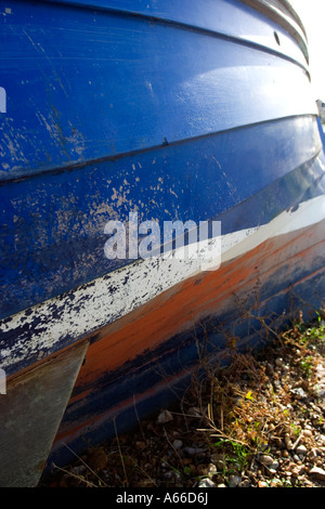 Blue hull of fishing boat, whitstable kent - Stock Photo