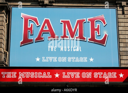 Poster outside of The Shaftesbury Theatre advertising the new musical Fame, launching on May 4th 2007 - Stock Photo