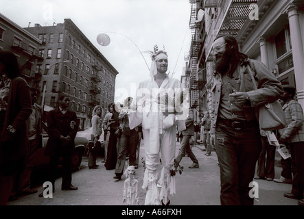 A performance artist on West Broadway in Soho in the Spring of 1978 - Stock Photo