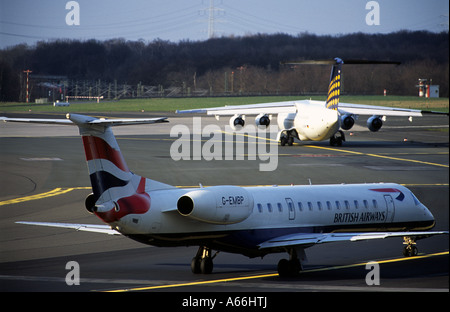 British Airways Embraer ERJ-145 passenger airliner at Dusseldorf International Airport, North Rhine Westphalia, - Stock Photo