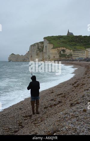 Falaise d'Amont. Étretat, Pays de Caux, département of Seine Maritime in Haute-Normandie, France, European Union, - Stock Photo