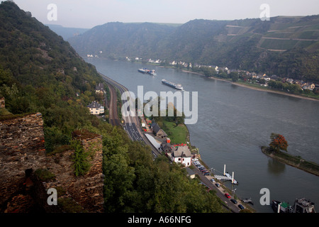 Areal view of Germany on the  Rhein near Bacharach in Germany - Stock Photo