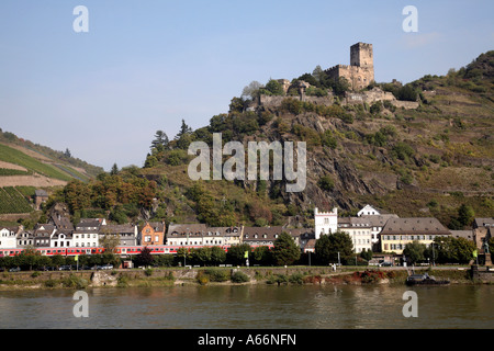 Castle on the River Rhein in Germany - Stock Photo