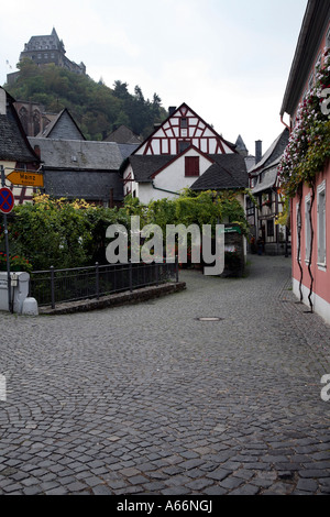 Historical town of Bacharach in Southern Germany on the River Rhein - Stock Photo