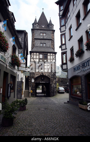 Historical pictorial town of Bacharach in Germany on the River Rhein - Stock Photo