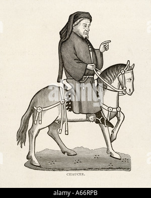 Chaucer On Horse - Stock Photo
