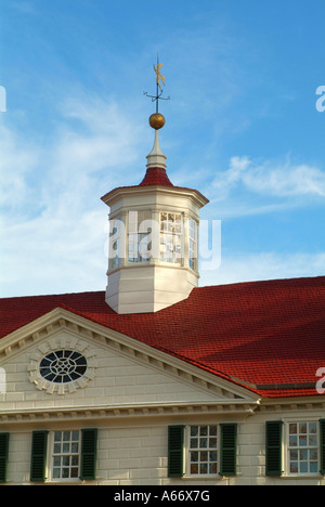 Detail of the home of the first American president A cupola with a wind vane sits atop the roof - Stock Photo