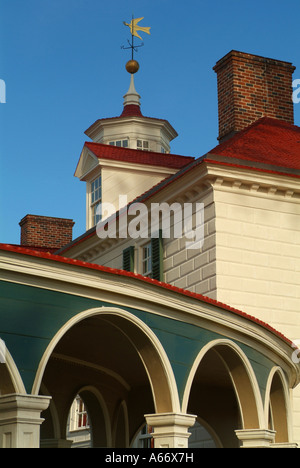 Mount Vernon Detail of the home of the first American president A cupola with a wind vane sits atop the roof - Stock Photo