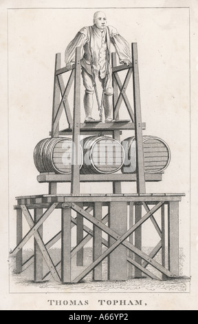 Thomas Topham lifting a collection of barrels