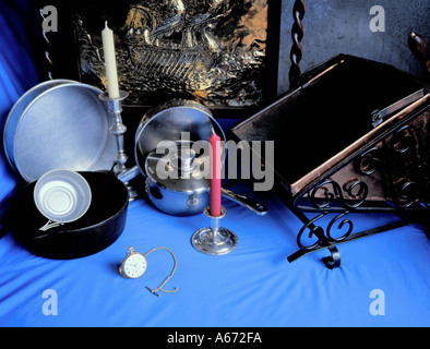 Display of objects showing uses of different metals and metal alloys ( refer descrition notes ). - Stock Photo