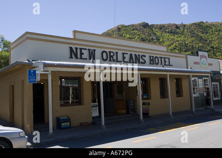 New Orleans Hotel on main street in historic former goldrush town of Arrowtown near Queenstown New Zealand - Stock Photo