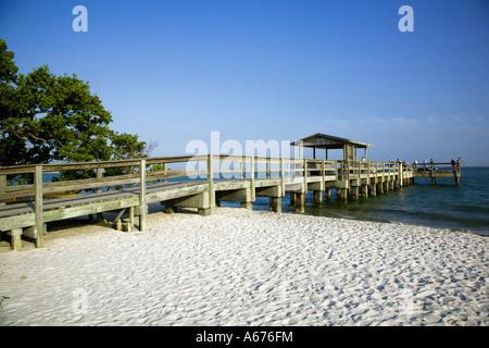 The fishing pier on Sanibel island western florida - Stock Photo