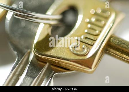house keys on key ring - Stock Photo