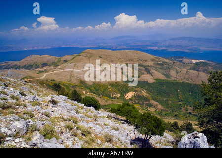 View towards Albania from the summit of Mount Pantokrator Corfu Island Greece JMH2683 - Stock Photo