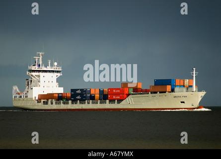 Containership on Baltic Sea, Kiel Fjord, Schleswig-Holstein - Stock Photo