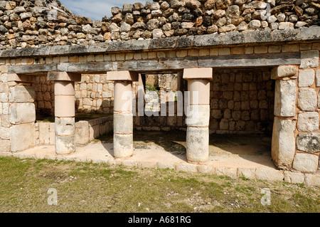 Cuadrangulo de los Pajaros, quadrangle or square of the birds, Maya archeological site Uxmal, Yucatan, Mexico - Stock Photo