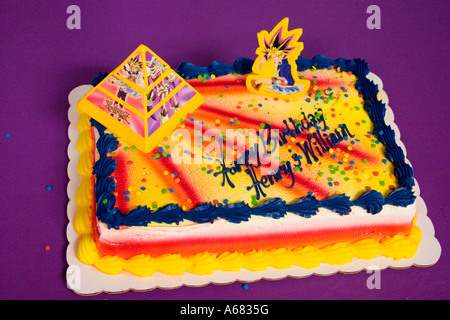 Yami Yugi on a Yu-Gi-Oh theme birthday cake for Henry and William.  Burnsville Minnesota USA - Stock Photo