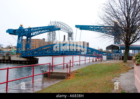 duluth aerial lift bridge in the raised position over the canal ready stock photo royalty free. Black Bedroom Furniture Sets. Home Design Ideas