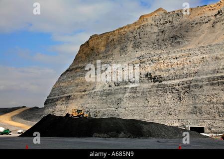 Coal in an open cut mine - Stock Photo