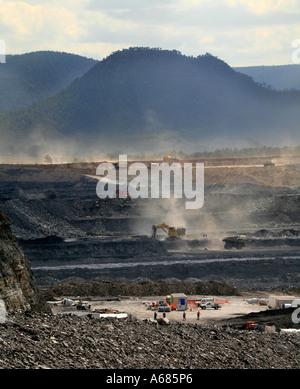Open cut coal mine in the Hunter Valley NSW Australia - Stock Photo