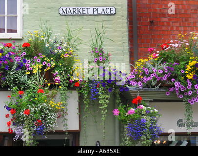 Market Place in Glastonbury High Street Somerset England United Kingdom - Stock Photo