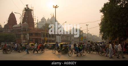 Sunset at Chandni Chowk Market New Delhi India - Stock Photo