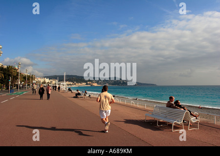 Promenade des Anglais in Nice France - Stock Photo