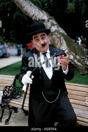 chilean street entertainer miming charlie chaplin, - Stock Photo