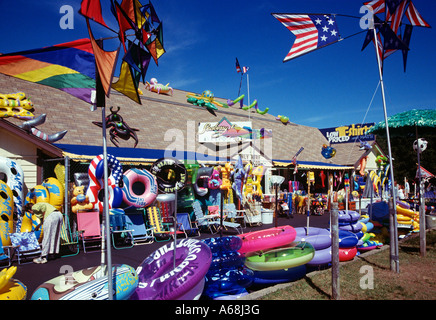 Beach kites floats and toys at roadside store Cape Cod MA - Stock Photo