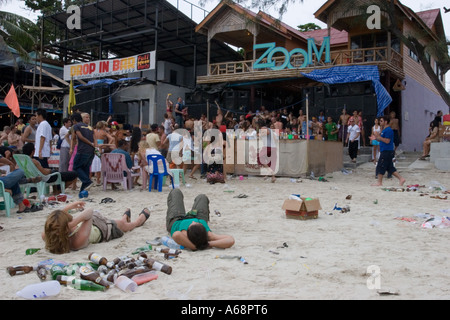 Aftermath of the Full Moon Party at Zoom and Drop In Bars - Stock Photo