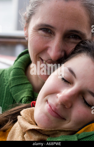 Mother and Daughter outdoor portrait - Stock Photo
