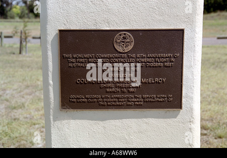 plaque on historic monument commemorating Harry  Houdid's first flght in Australia. - Stock Photo