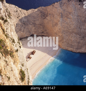 Close up spectacular sand beach cove and wreck at Shipwreck Bay in late afternoon of Zakynthos Island The Greek - Stock Photo