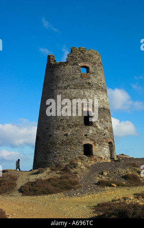 Derelict traditional 19th century windmill at the Parys Mountain copper mine Anglesey North Wales - Stock Photo