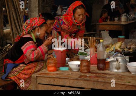 Flower Hmong Indigenous People, Bac Ha market, Lao Cai, Vietnam. - Stock Photo