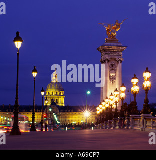 Europe France Paris Pont Alexandre III and Hotel des Invalides - Stock Photo