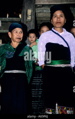 Group of Muong women in a village in Northern Vietnam - Stock Photo