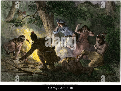 Daniel Boone rescues his daughter from Native American captors. Hand-colored woodcut - Stock Photo