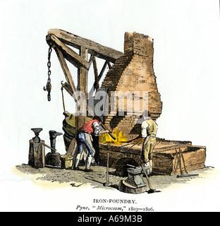 Iron foundry circa 1803. Hand-colored woodcut - Stock Photo