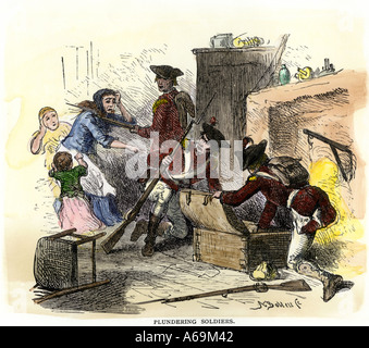 British soldiers plundering an American colonial home 1700s. Hand-colored woodcut - Stock Photo