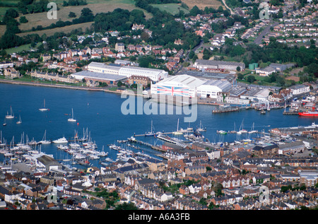 Aerial View of Cowes Harbour Isle of Wight Hampshire UK showing old hovercraft factory