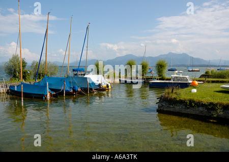 Summer afternoon scene on Fraueninsel, Chiemsee, Bavaria, Germany. - Stock Photo