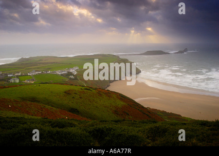 WORM`S HEAD VIEWED FROM RHOSSILI DOWN, GOWER PENINSULA, SOUTH WALES, U.K. - Stock Photo